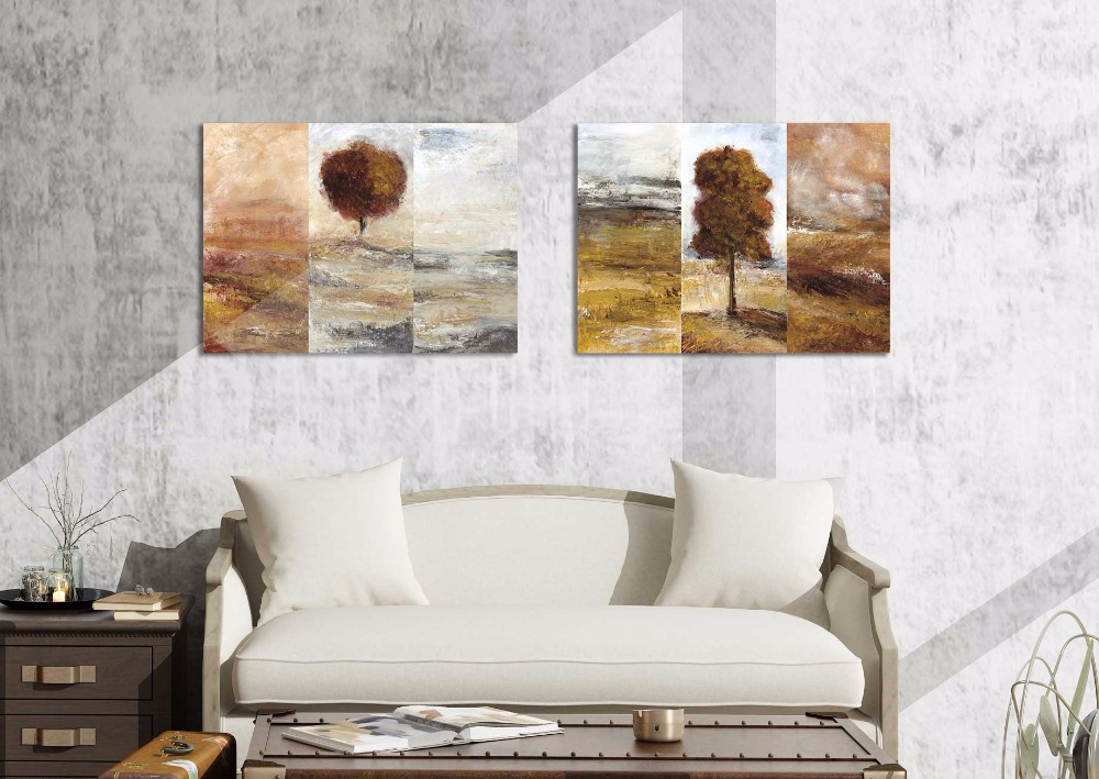 ჱ2 stks Abstract Landschap Boom Canvas schilderij Home decor art ...