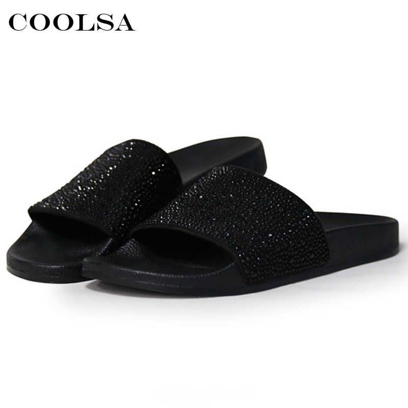 11ffdf708 ... Hot Summer Women Diamond Slippers PU Bling Rhinestone Slides Flat  Indoor Flip Flops Female Fashion Crystal ...