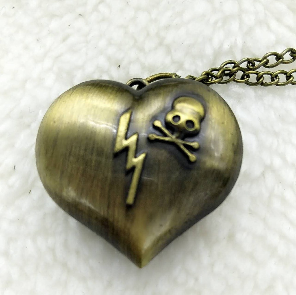 Bronze Skull Quartz Heart-shaped Pocket Watch Necklace Pendant Chain Womens Watches Gift For Valentine's Day 10pcs P54