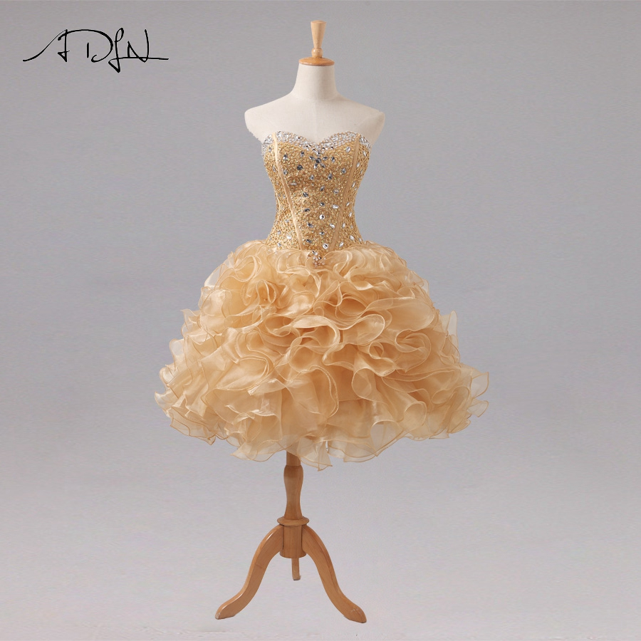 ADLN ELegant Beaded   Cocktail     Dresses   Gold Sequins Organza Ruffles Short Party   Dress   Ball Gown Homecoming Gowns