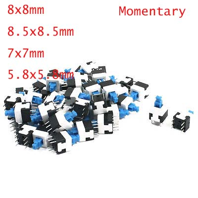 50pcs 6 Pins Momertary Not Lock Type <font><b>Tact</b></font> Tactile Push Button <font><b>Switches</b></font> 8x8mm/8.5x8.5mm/7x7mm/5.8x5.8mm image