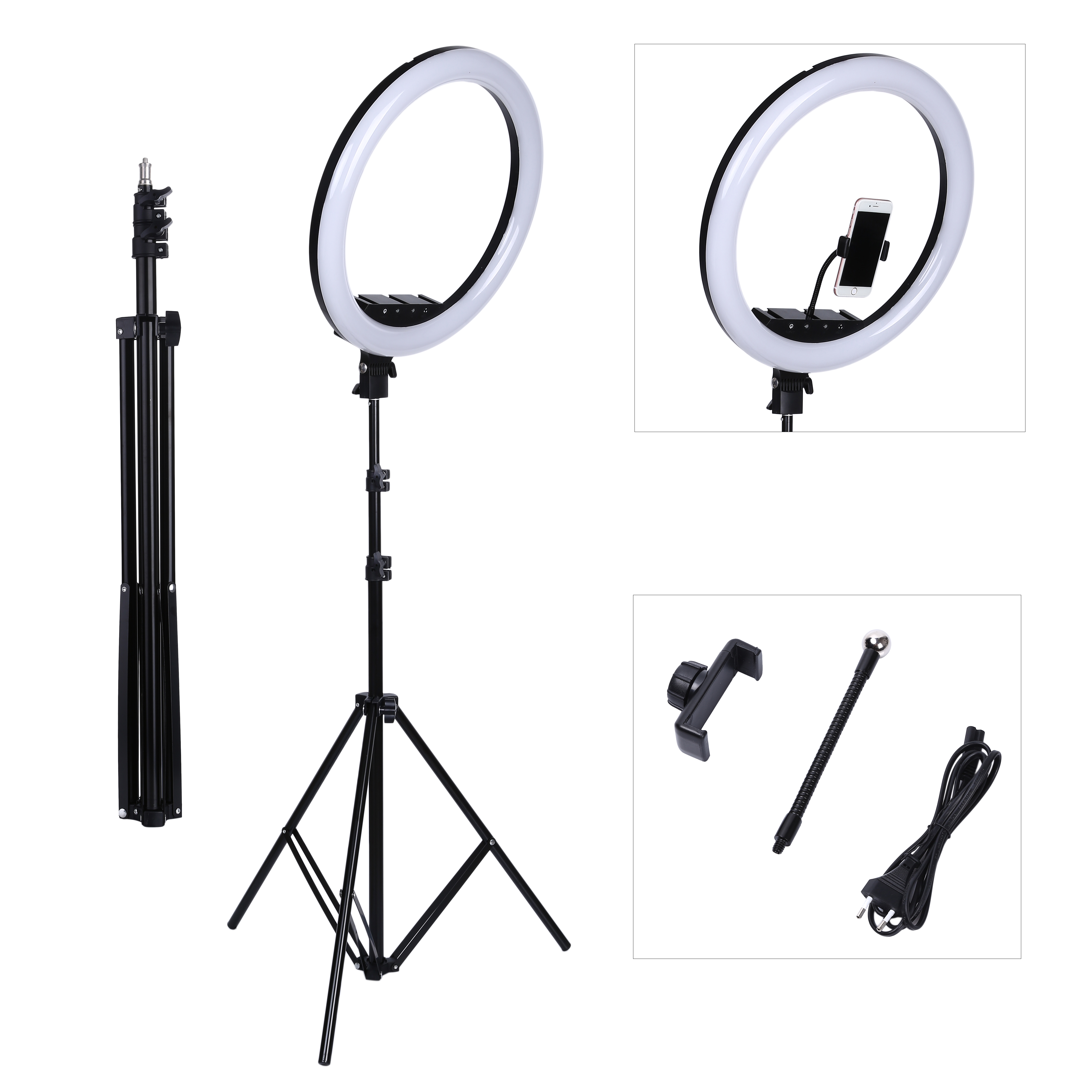18 Inch Photo Studio lighting LED Ring Light Touch Screen Switch Photography Dimmable Ring Lamp With