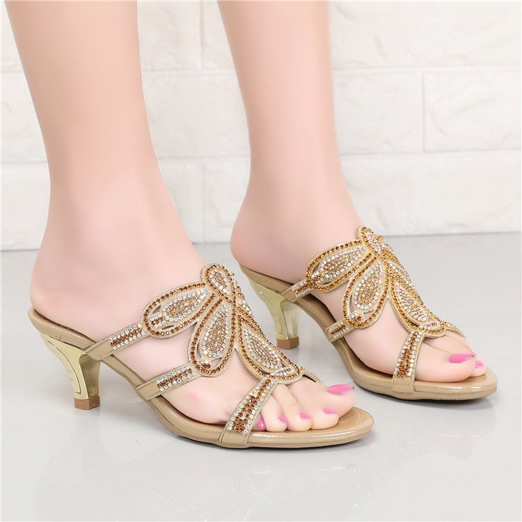 New Luxury Diamond Stiletto High Heels Slippers Online Shopping Peep Toe Womens Shoes Sale High Quality Gold Purple Black Red2
