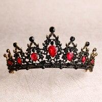 Хрустальное сердце Свадебная Корона-Тиара барокко черный красный зеленый горный хрусталь диадема для торжества, для фаты тиара головная по...