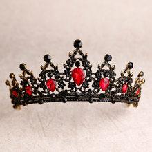 Coração de cristal tiaras nupcial coroa barroco preto vermelho verde strass diadema pageant véu tiara bandana casamento acessórios para o cabelo