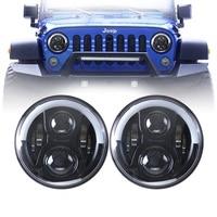 Black 7 LED headlight Headlamp For Jeep Wrangler JK TJ CJ Lada 4x4 7 Round LED Ring Halo Angel Eye Headlights H4 Hi/Lo Beam