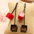 Ajojewel Rojo de Moda Cuadrado Negro Geométricas Pendientes De Gota Largos Para Las Mujeres/Niñas Pendientes de la Versión Coreana
