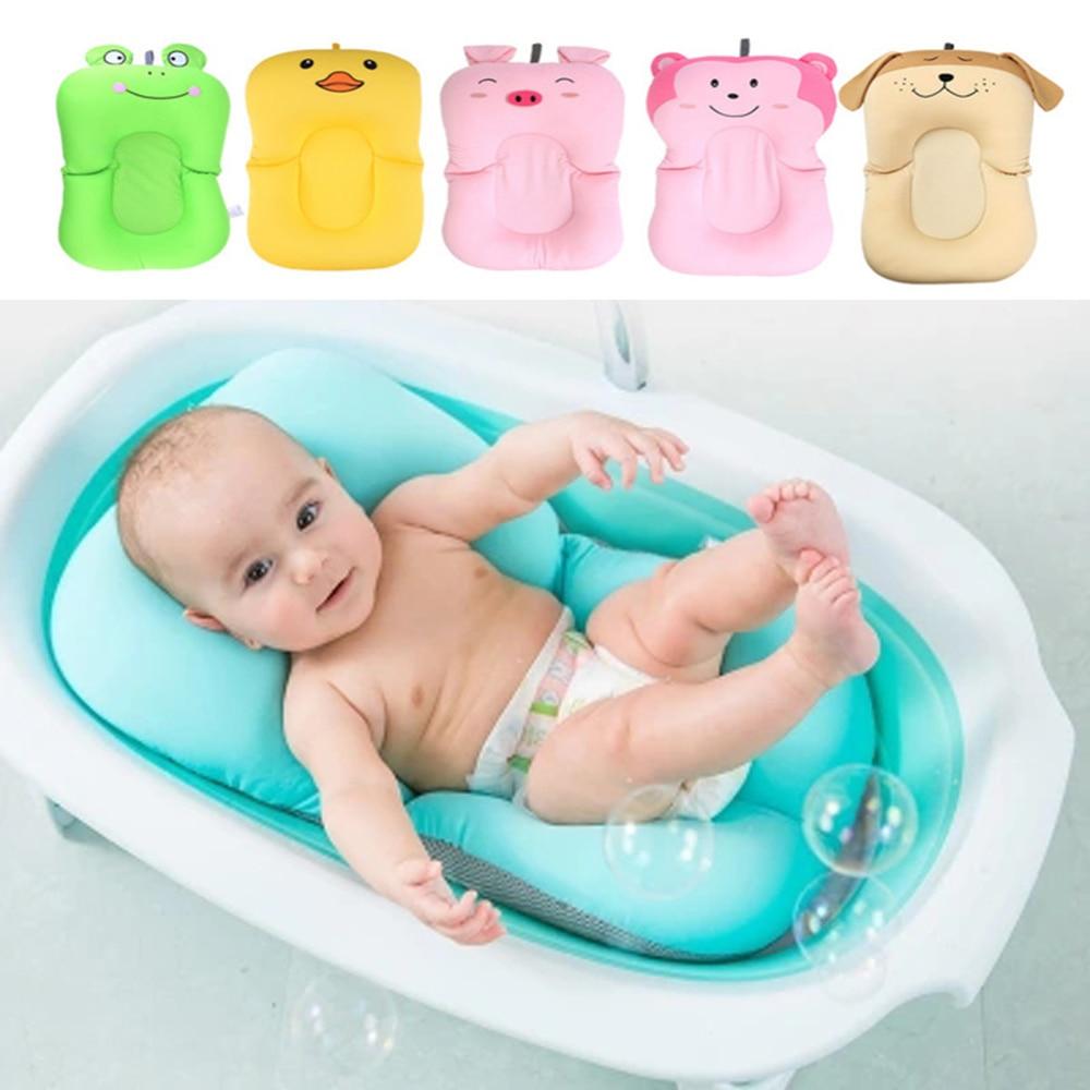 Baby Shower Cushion Mat Portable Air Cushion Bed Baby Bath Pad Non-Slip Bathtub Mat Newborn Safety Security Bath Seat Support