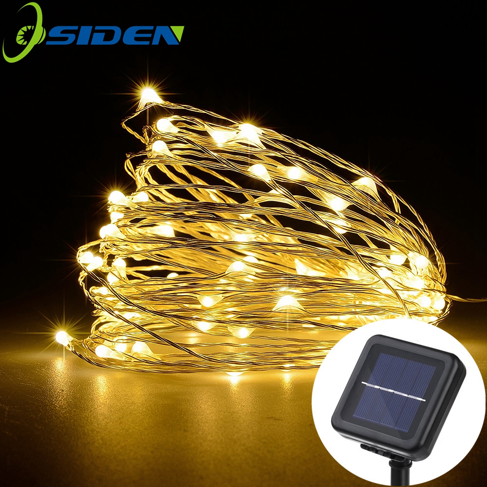 OSIDEN LED Solar lámpara de hadas luces de Navidad 10 m 100 LED 5 M 50led alambre de cobre de Navidad de la boda fiesta decoración lámpara guirnalda