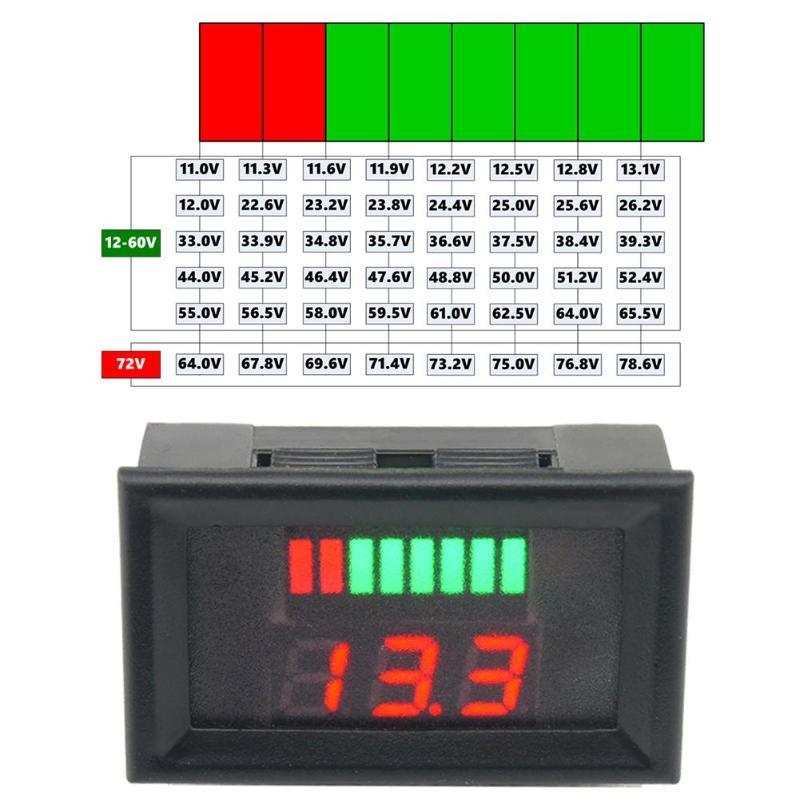 Voltmeter 12-60V  ACID Red Lead Battery Capacity Battery Voltmeter  Indicator Charge Level Lead-acid LED Tester Plastic Voltage