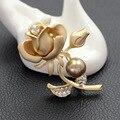 Elegante bañados en Oro de rose en forma de bufanda alfileres y broches de diamantes de imitación broche de perlas para el regalo de las mujeres