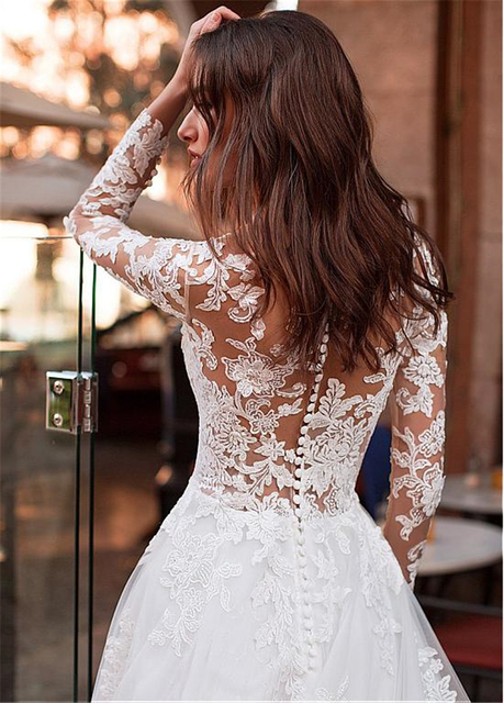 Attractive Tulle Jewel Neckline See-through Bodice A-line Wedding Dress With Lace Appliques & Beadings Long Sleeves Bridal Dress 3