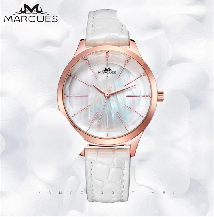 MARGUES Brand Quartz Watch For Women Pearl Fritillary Dial Fashion Watches Casual Stone Pattern Leather Strap Clock 045