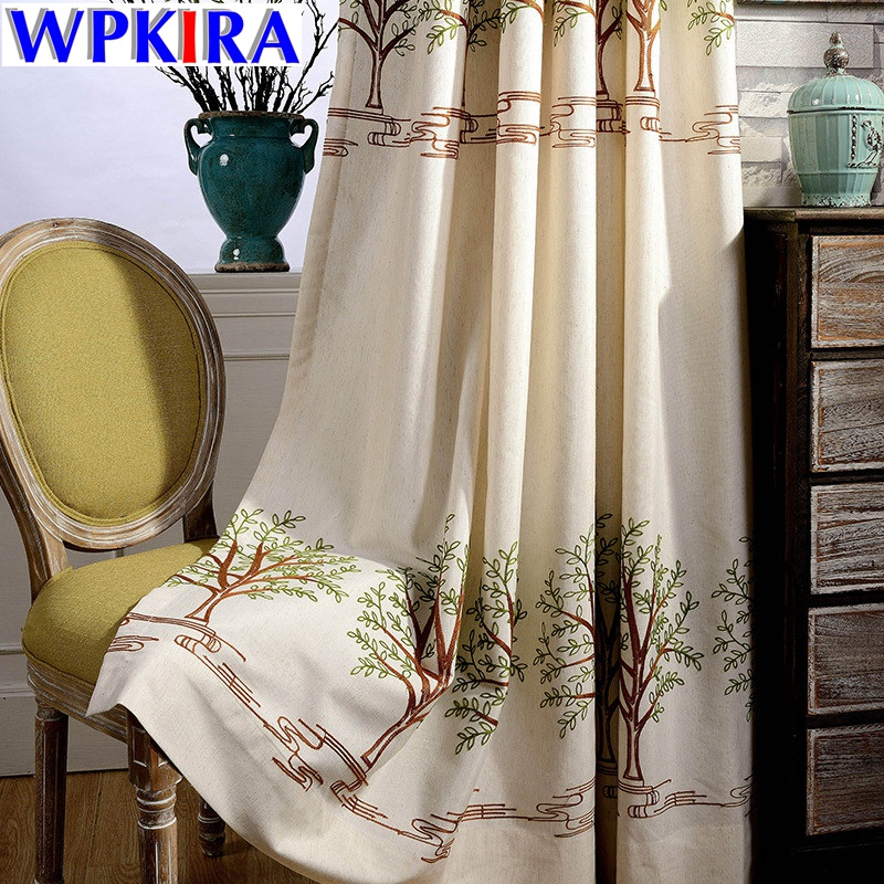 Cartoon Trees Curtains For Bedroom Cotton Linen Towel: Korean Bedroom Windows Shading Curtain Embroidered Tree