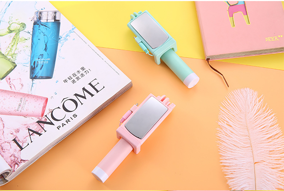 !ACCEZZ Mini Wired Selfie Stick IOS For iPhone X XR XS MAX 8 7 6 For Huawei Samsung Monopod Foldable Portable Selfiestick Mirror (18)