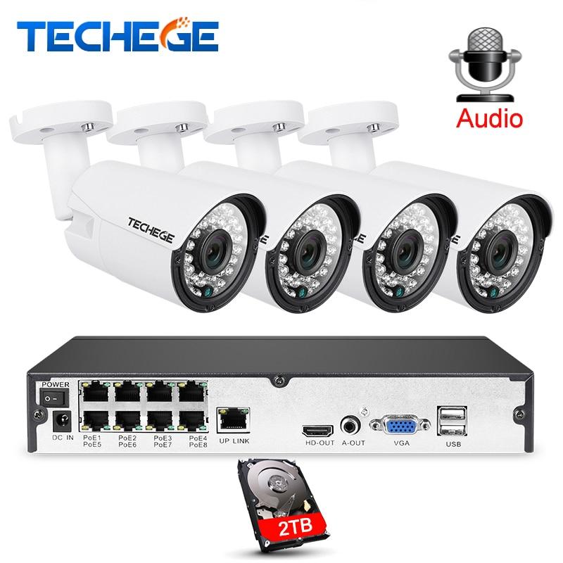 Techege 8CH 1080 p CCTV Système Audio Record 2MP 3000TVL PoE IP Caméra Étanche Nuit Extérieure Vision Vidéo Surveillance système