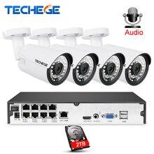 Techege 8CH 1080 P CCTV системы аудио запись 2MP 3000TVL PoE IP камера водостойкий открытый ночное видение товары теле и видеонаблюдения