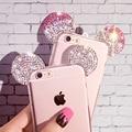 Casos para iphone 7 plus 6 6 s plus se 5 5S alta calidad Rhinestone 3D Mickey Mouse Orejas Suave Transparente Tpu Teléfono bolsa