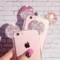 Casos para iphone 7 plus 6 6 s plus se 5 5S alta qualidade Strass 3D Orelhas de Mickey Mouse Macio TPU Transparente Tampa Traseira Do Telefone saco