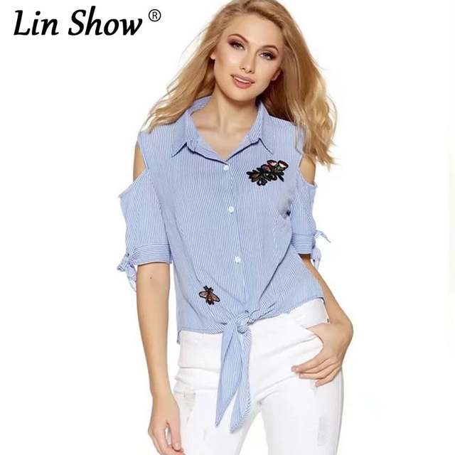 1ee8d498bc94b7 LINSHOW Floral Embroidery Striped Off Shoulder Tops Bow Short Sleeve Summer  Blouses 2017 New Office Korean Style Womens Tops