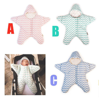 Neugeborenen Baby Ammer Tasche Herbst & Winter Starfish Schlafsack 4-12Months Kinderwagen Bett Swaddle Decke Wrap Für Kinderwagen Auto