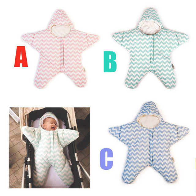 Newborn Infant Baby Bunting Bag Autumn & Winter Starfish Sleeping Bag 4-12Months Prams Bed Swaddle Blanket Wrap For Stroller Car