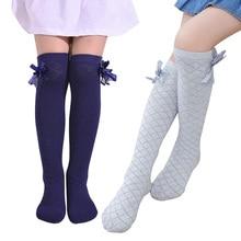 Носки для девочек; гольфы в клетку с бантом для детей; Детские повседневные эластичные гольфы; однотонные модные От 3 до 12 лет с бантом для маленьких девочек