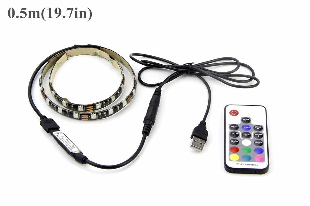 USB RGB LED Strip 5050 Flexible Adhesive Tape Multi-color Changing Lighting Kit for Flat Screen HDTV LCD Desktop PC Monitor (2)