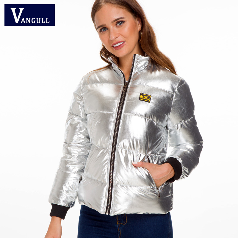 Vangull Silver Bright Jacket Coat Women Winter Warm Down Cotton Padded Parkas Bread Style new Autumn Fashion Bomber Outwear