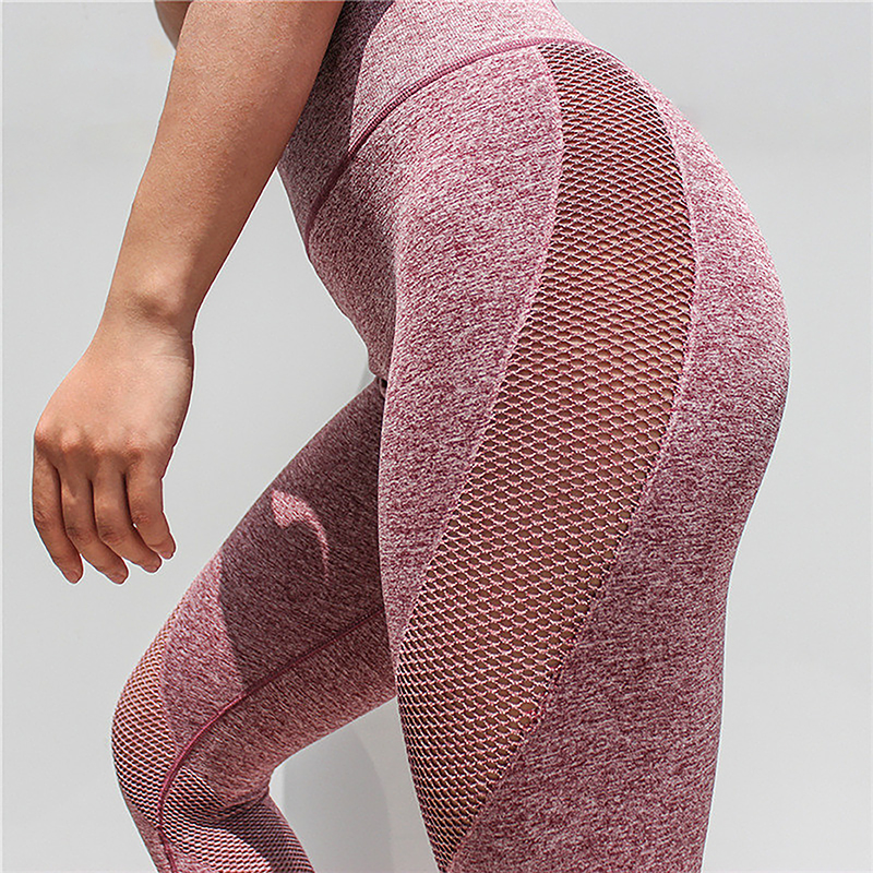 New Seamless Mesh Running Sport Tights Women Mention Hip Gym Yoga Capri Pants Tummy Control Fitness Athletic Leggings