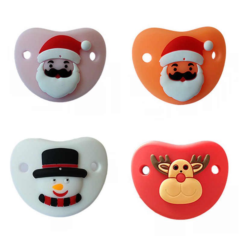 Big Baby Adult Pacifier Silicone Pacifier Nipple Sucking Christmas Gift Santa Snowman -3177