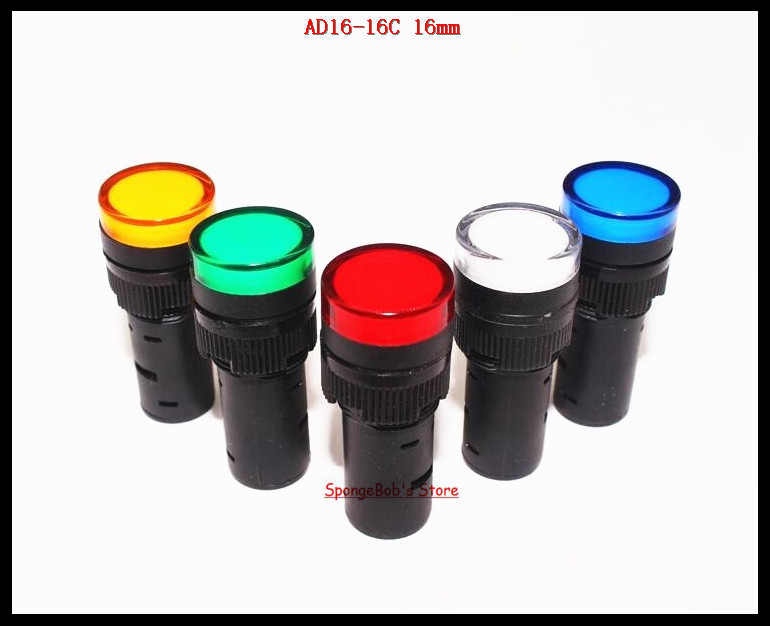 10-20 Pcs/Lot Mixed Color AC/DC 12V,24V,110V, AC220V AD16-16C 16mm Mount Size LED Power Indicator Signal Light Pilot Lamp