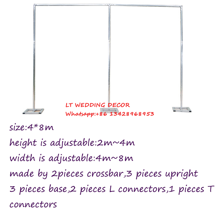 4m*8m wedding zincplated metal wedding backdrop stand/drap stand/piping frame