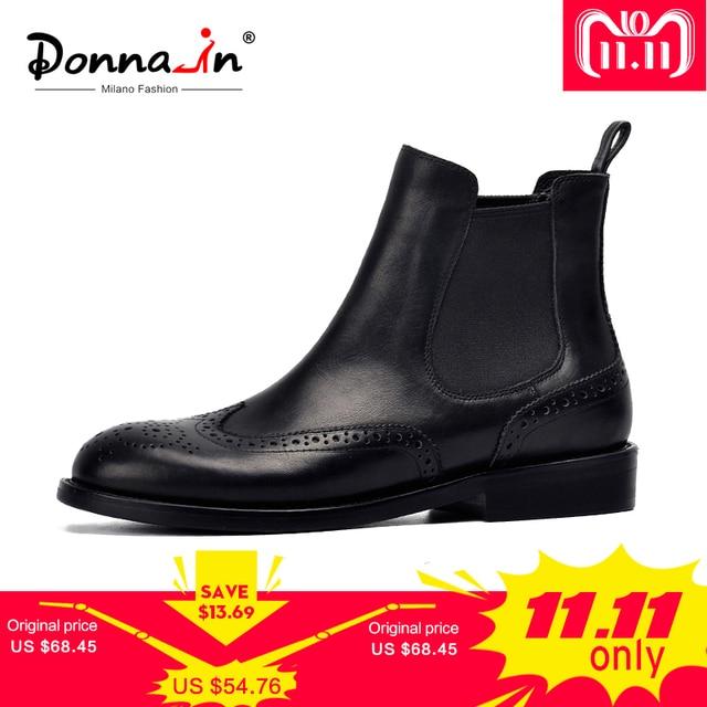 Donna-в Для женщин ботинки из натуральной кожи броги резные ботильоны «Челси» женская обувь на низком каблуке пинетки весна 2018 Дамская обувь