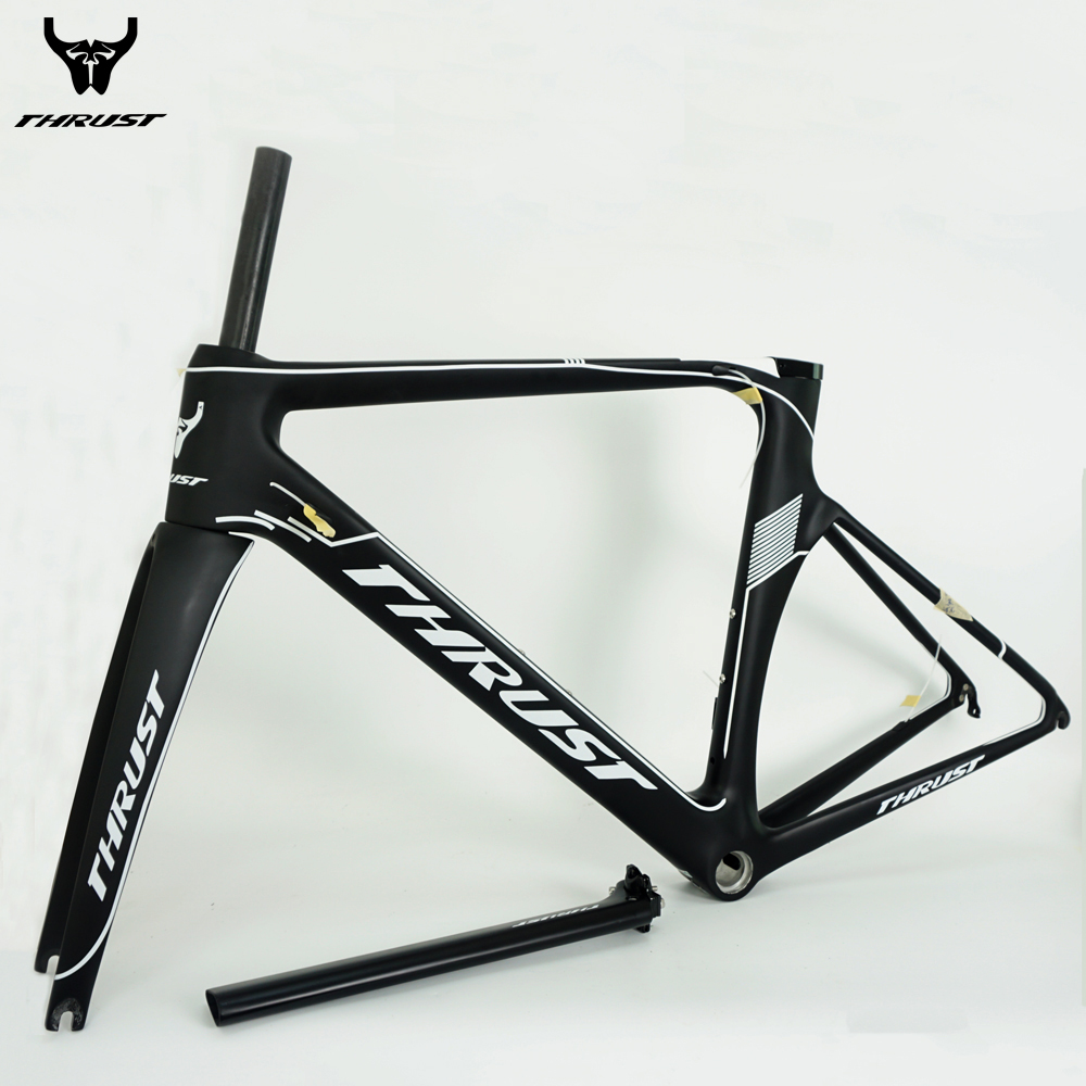 THRUST Carbon Road Bike Frame 2017 Road Bicycle Frame T1000 Cheap Carbon Frame 48 50 52 54 56 BSA BB30 Bicycle Parts 8 Color t800 full carbon fiber road racing bike frames cycling bicycle frameset bsa bb30 pf30 bicycle frame bicycle wheels
