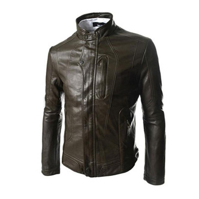 2016 Slim dark button jaqueta de couro men Korean Coat men high collar leather jacket men minimalist style leather jacket