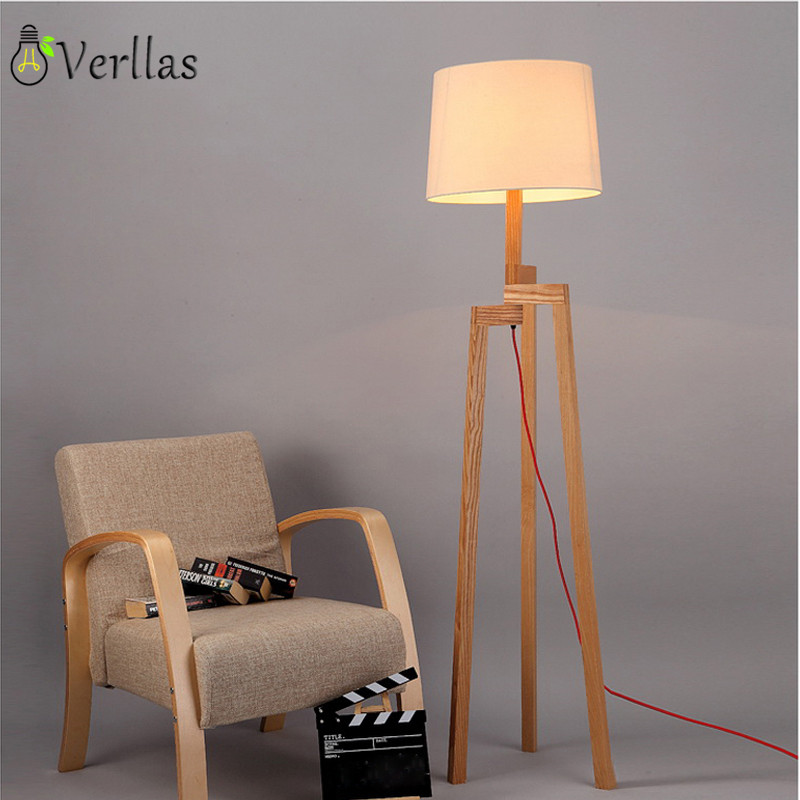 US $150.0 25% OFF|Wooden Floor Lamp Modern with foot switch Living Room  Bedroom Study Floor Standing Lamps White Fabric wooden floor lights  Decor-in ...