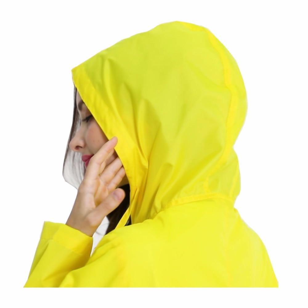 Womens Stylish Solid Yellow Rain Poncho Waterproof Raincoat with Hood and Pockets