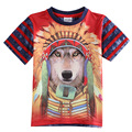 3D Americano Indiano crianças meninos t camisa Do Cão Do lobo azul Roupa vermelha para os meninos roupas crianças usam roupas infantis para meninos enfant