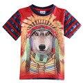 3D lobo Indio Americano Perro niños niños camiseta azul rojo Ropa para niños ropa niños desgaste infantil roupas meninos enfant