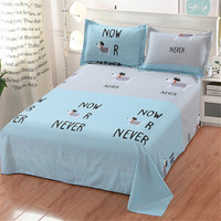 Hot sell Cartoon Animal puppy flat pillow case sheet 100% cottone Natural color sheets for home bedding bos/girl gift full size