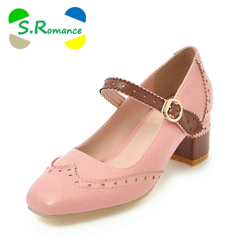 S. الرومانسية النساء مضخات زائد حجم 34 43 أزياء أنيقة مربع اصبع القدم مشبك حزام مربع كعب امرأة أحذية الأصفر الأسود الوردي SH676-في أحذية نسائية من أحذية على  مجموعة 1