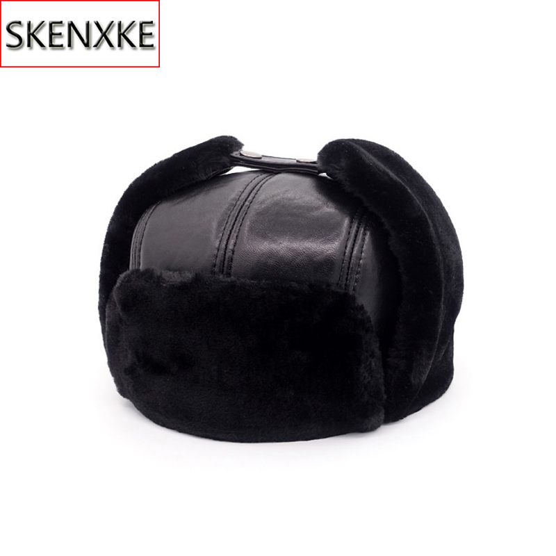 2019 New Men 100% Natural Real Sheepskin Leather Bomber Hats Male Casual Winter Warm Sheepskin Leather Cap Hot Russia Adult Caps(China)