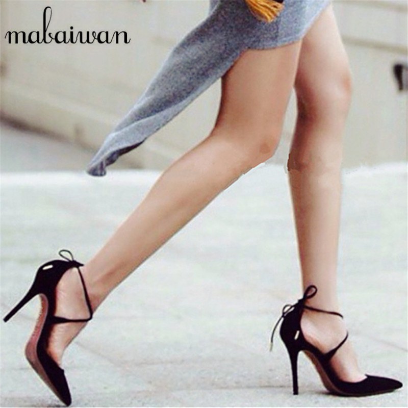 Sexy Black Cross Strap Women Pumps Suede Lace Up Pointed Toe High Heels 10CM Wedding Dress Shoes Woman Stiletto Valentine Shoe genshuo 2017 women sexy valentine pointed toe stiletto high heels shoes ladies wedding dress bridal designer pumps zapatos mujer