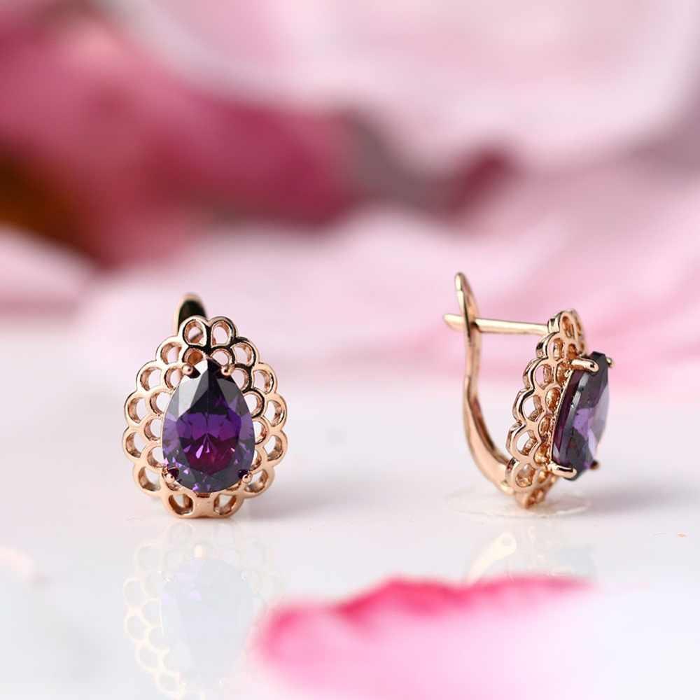 Unikalne 585 różowe kolczyki ze złotym sztyftem dla kobiet wykwintne rzeźbione Hollow czerwony fioletowy kolczyki z niebieskim kryształem wesele Fine Jewelry