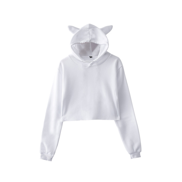 BTS Cute Cropped Hoodies Kawaii Womens Sweatshirts Hoodie Crop Tops Solid  Cat Ear Long Sleeve Cropped 6554d6a32e84
