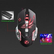 Venta caliente 6 Botones 3200 DPI USB Wired Mecánica Gaming Mouse ratones 4 LED Retroiluminada Juego Profesional Ratón Óptico Ratones para PC