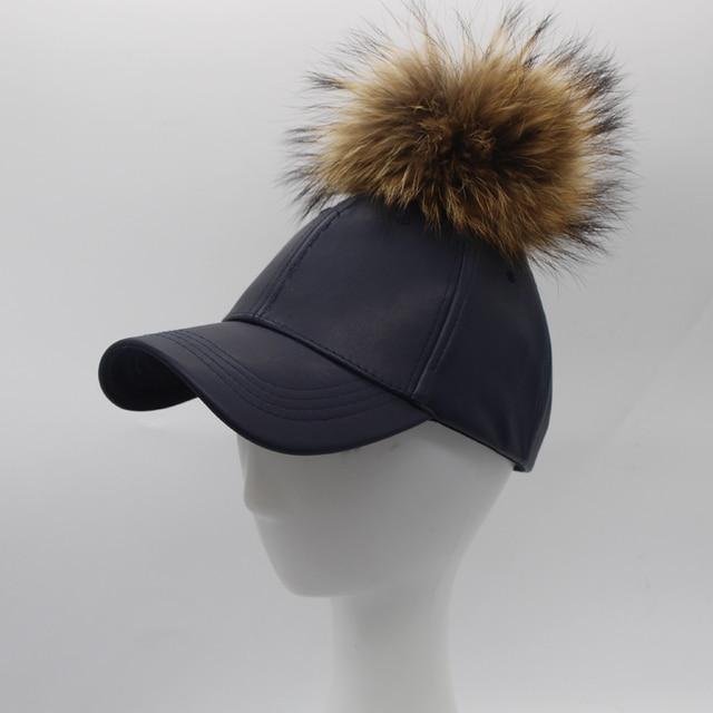 Winter Leather PU Baseball Cap With Fur Pom poms For Men Women Hip Hop Fur Ball Snapback Caps