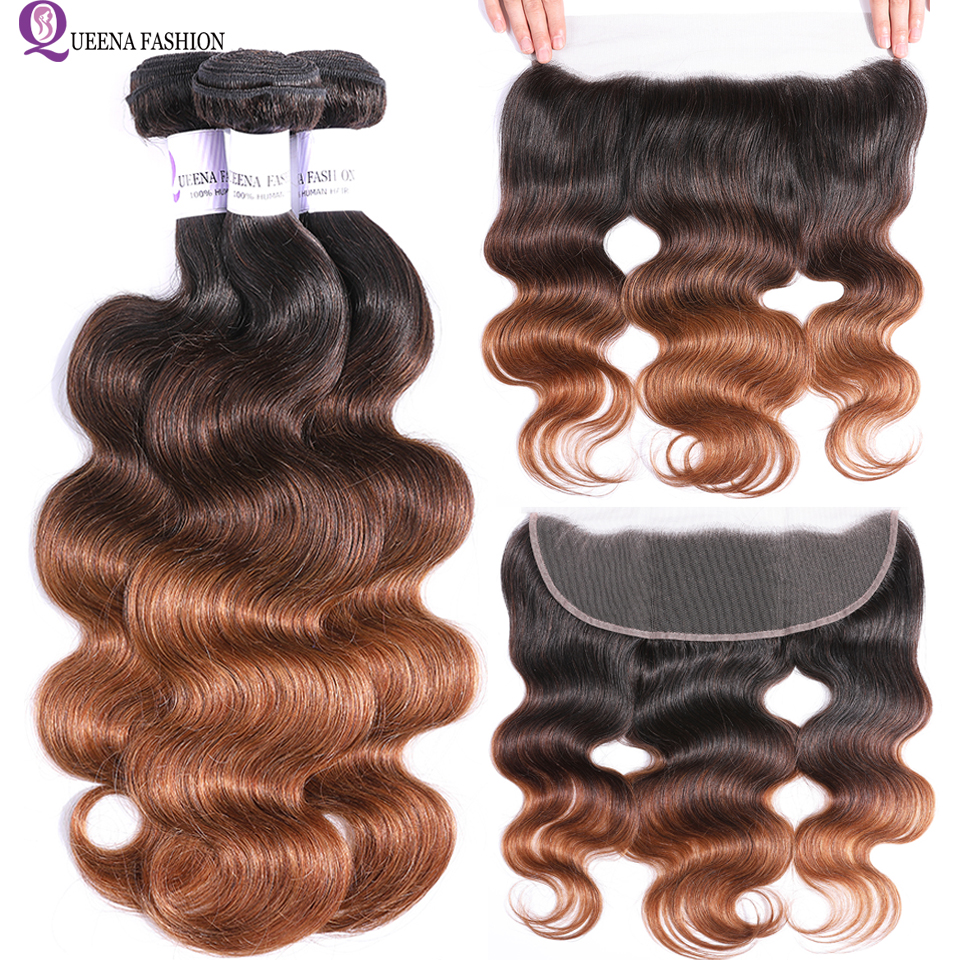 Ombre Bundles With Frontal 1B 4 30 Pre Colored Ear To Ear Lace Frontal Closure With Bundles Remy Peruvian Body Wave With Frontal