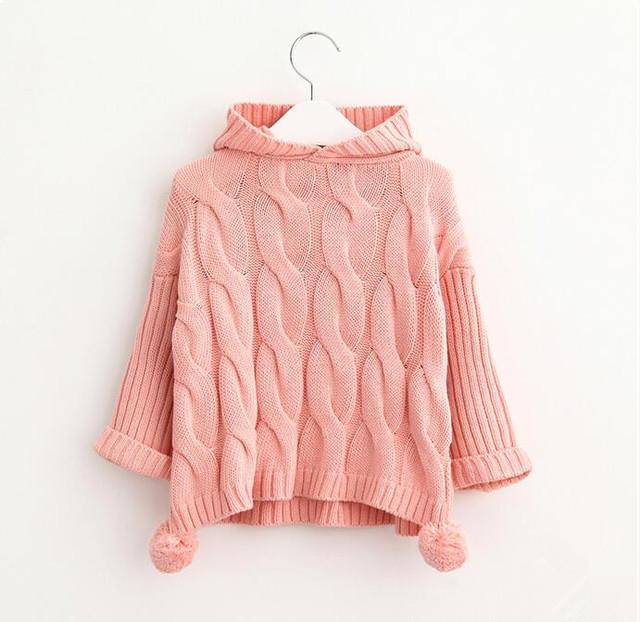 YK60653750 Retail 2016 Autunm Baby Girl Fashion Applques Chica Arco Sólido Suéter Con Capucha Suéter de la Manga Completa Ropa de Niña